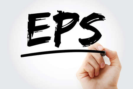 EPS - Earnings Per Share acronym with marker, business concept background Stock Photo