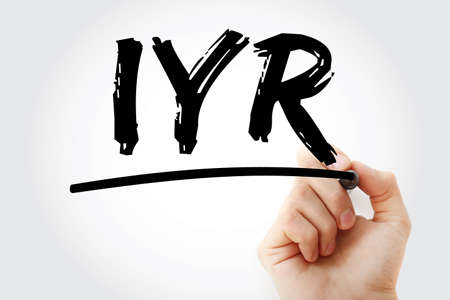 IYR - In Year Revenue acronym with marker, business concept background Imagens