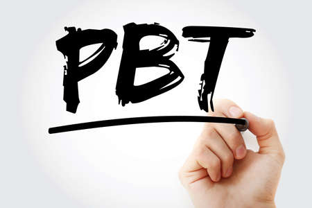 PBT - Profit Before Tax acronym with marker, business concept background