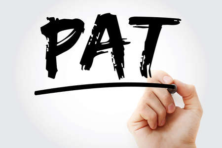 PAT - Profit After Tax acronym with marker, business concept background