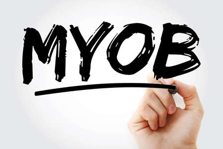 MYOB - Mind Your Own Business acronym with marker, business concept background Banque d'images