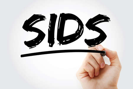 SIDS - Sudden Infant Death Syndrome acronym with marker, concept background