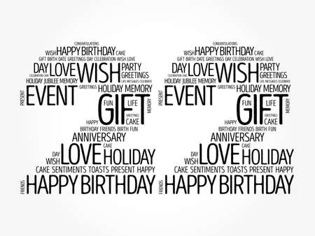 Happy 22nd birthday word cloud, holiday concept background