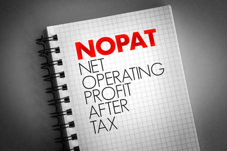 NOPAT - Net Operating Profit After Tax acronym on notepad, business concept background