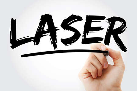 LASER - Light Amplification by Stimulated Emission of Radiation acronym with marker, technology concept background