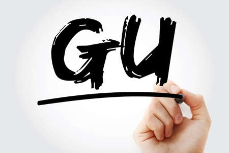 GU - Genitourinary acronym with marker, concept background