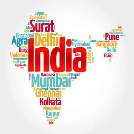 List of cities in India, map silhouette word cloud, business and travel concept background
