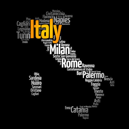 List of cities in Italy, map silhouette word cloud, travel concept background