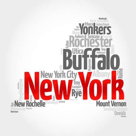 List of cities in New York USA state, map silhouette word cloud map concept Stock Photo