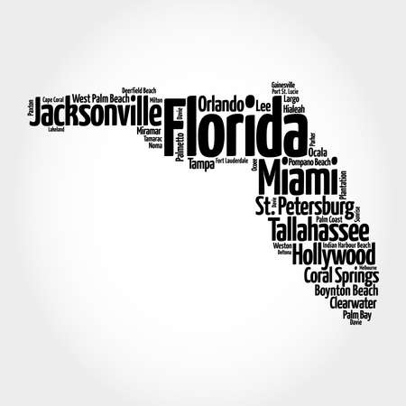 List of cities in Florida USA state, map silhouette word cloud map concept