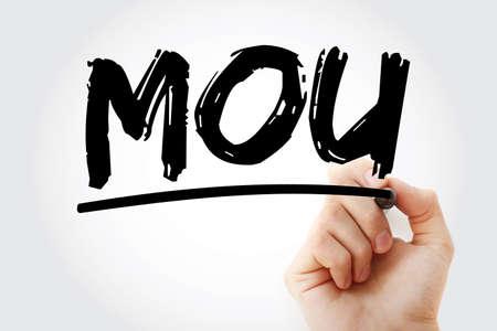 MOU - Memorandum Of Understanding acronym with marker, business concept background