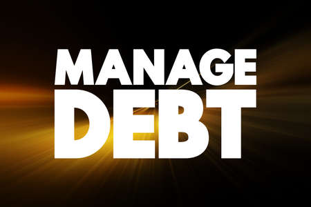 Manage Debt text quote, concept background