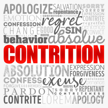 Contrition word cloud collage, concept background