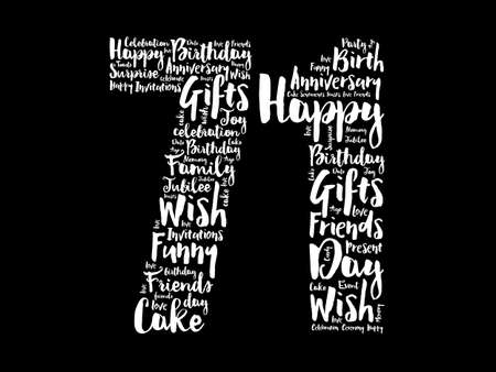 Happy 71st birthday word cloud, holiday concept background