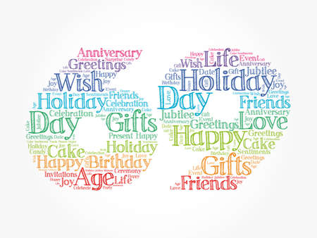 Happy 69th birthday word cloud, holiday concept background