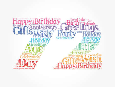 Happy 72nd birthday word cloud, holiday concept background