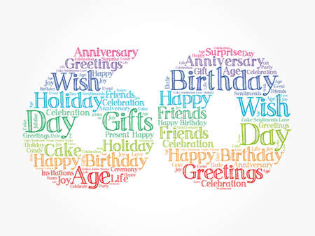 Happy 60th birthday word cloud, holiday concept background