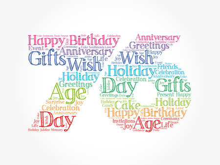 Happy 76th birthday word cloud, holiday concept background