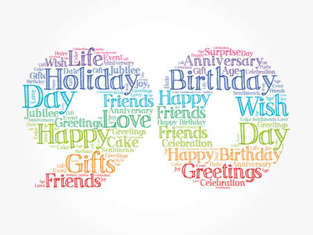 Happy 90th birthday word cloud, holiday concept background Stock Photo