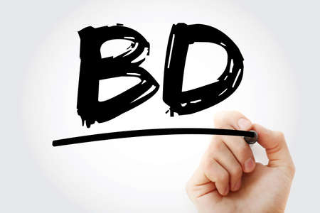 BD - Business Development acronym with marker, business concept background