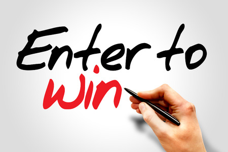 Hand writing Enter to win, business concept Stock Photo