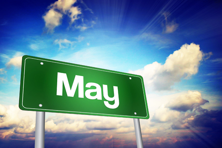 months of the year: May Green Road Sign, Months of the Year concept Stock Photo