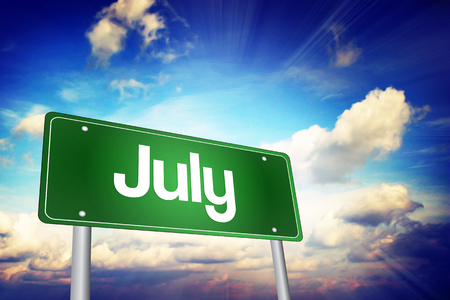 months of the year: July Green Road Sign, Months of the Year concept Stock Photo