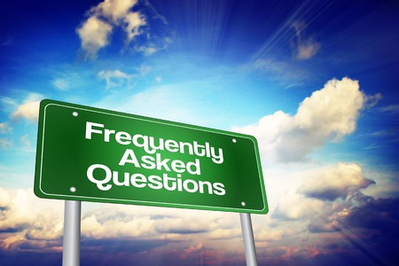 query mark: Frequently Asked Questions (FAQ) Green Road Sign, Business Concept