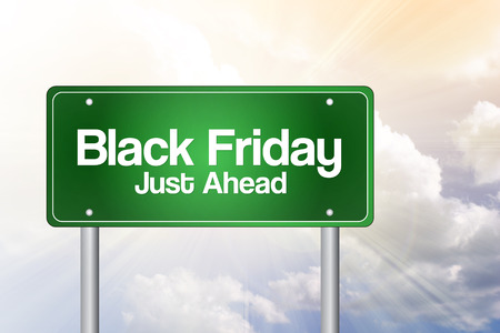 just ahead: Black Friday Just Ahead Green Road Sign, Business Concept Stock Photo