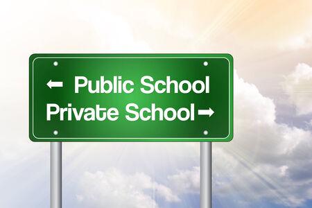private school: Public or Private School Green Road Sign, Education Concept