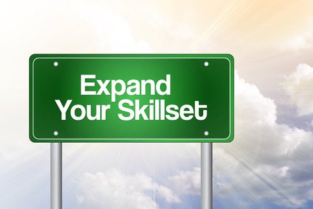 skillset: Expand Your Skillset Green Road Sign, Business Concept