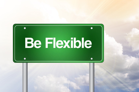 accommodating: Be Flexible Green Road Sign, Business Concept Stock Photo