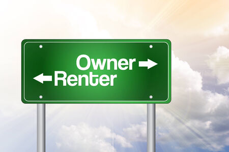 renter: Owner, Renter Green Road Sign, Business Concept