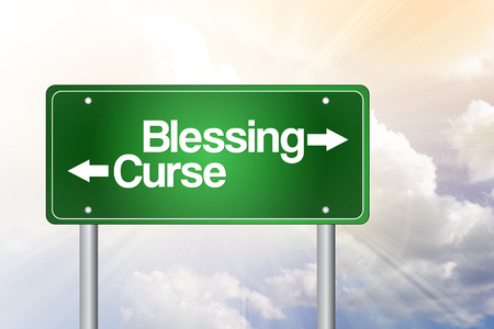 blight: Blessing, Curse Green Road Sign, Business Concept Stock Photo