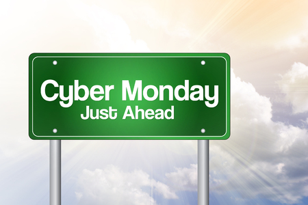 specials: Cyber Monday Specials Green Road Sign, Business Concept Stock Photo