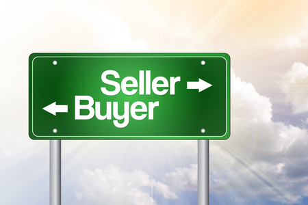 Seller, Buyer Green Road Sign, Business Concept Stok Fotoğraf - 36717429