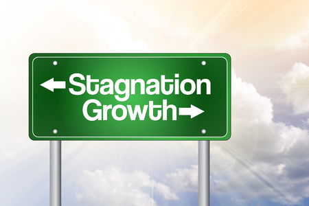 stagnation: Stagnation or Growth Green Road Sign, business concept