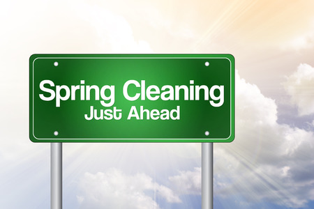 Spring Cleaning Just Ahead Green Road Sign, business concept