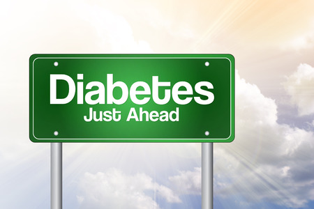 diabetes: Diabetes Just Ahead Green Road Sign, business concept
