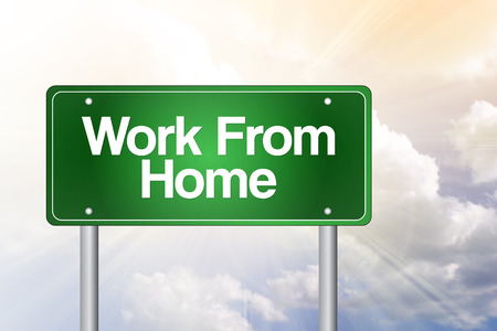 work from home: Work From Home Green Road Sign, business concept