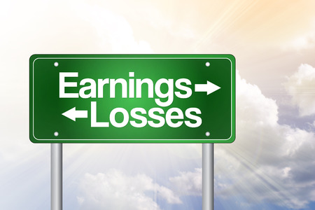 Earnings, Losses Green Road Sign, business concept