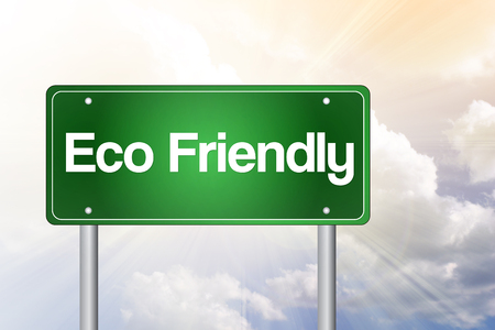 Eco Friendly Green Road Sign concept photo