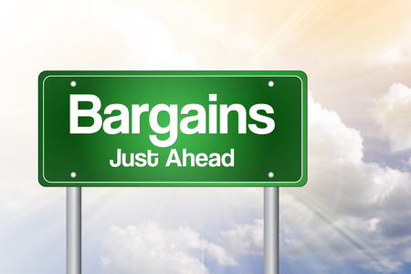 just ahead: Bargains Just Ahead Green Road Sign concept