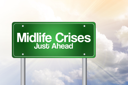 midlife: Midlife Crises Just Ahead Green Road Sign concept