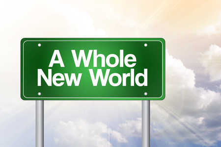 regenerated: A Whole New World Green Road Sign, business concept Stock Photo