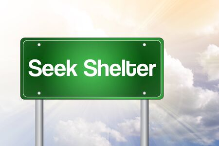 take down notice: Seek Shelter Green Road Sign, business concept