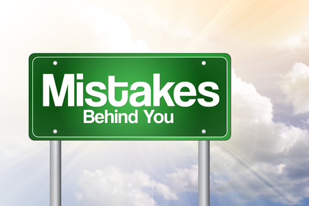 lament: Mistakes, Behind You Green Road Sign, business concept Stock Photo