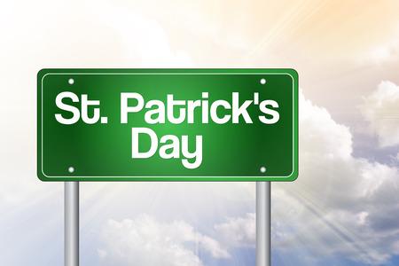 patron saint of ireland: St. Patricks Day Green Road Sign concept