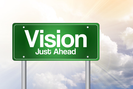 standpoint: Vision Just Ahead Green Road Sign, business concept