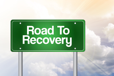 road to recovery: Road To Recovery Green Road Sign, business concept